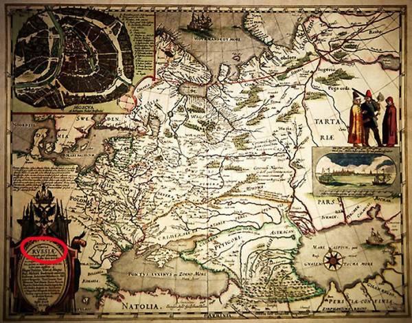 """Для тех, кто Россию называет  """"Московией """".  Карта России 1613 - 1614 г. Гесселя Герритса, крупного..."""
