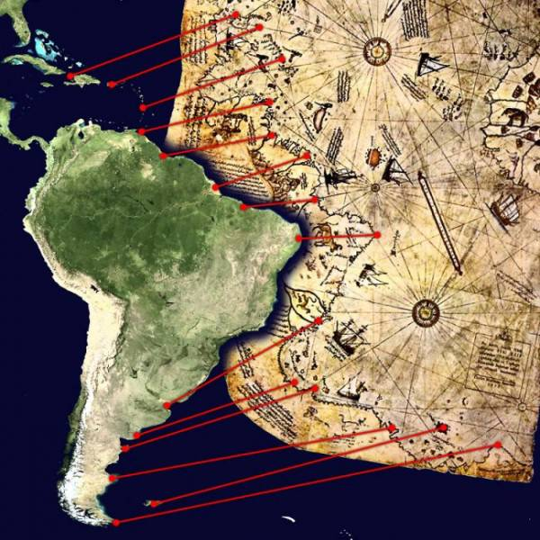 Сравнение между современным изображением и версией изображения на карте Пири-реиса