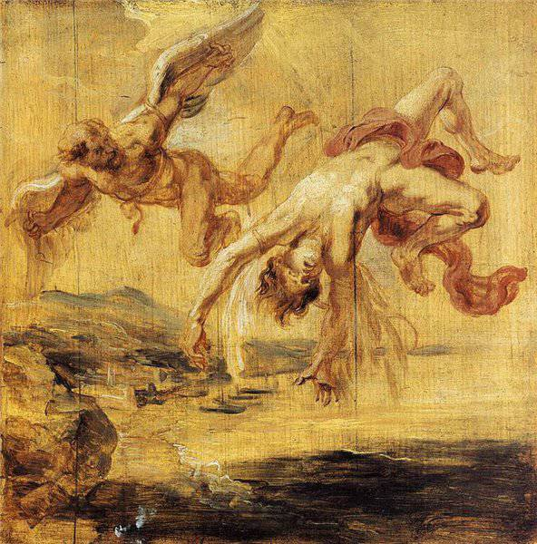 The Fall of Icarus oil painting by Peter Paul Rubens.