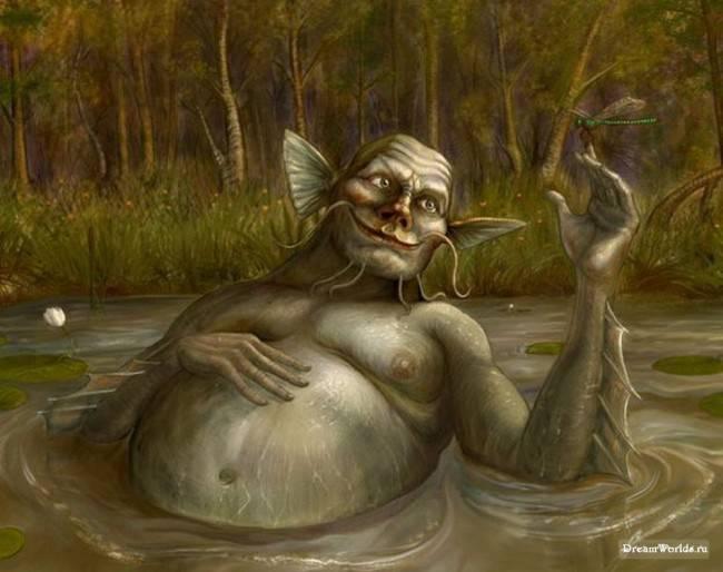 Фото Водяной лежит в болоте, играя со стрекозой - Pavel Spitsyn 2006 ( Anatol)...