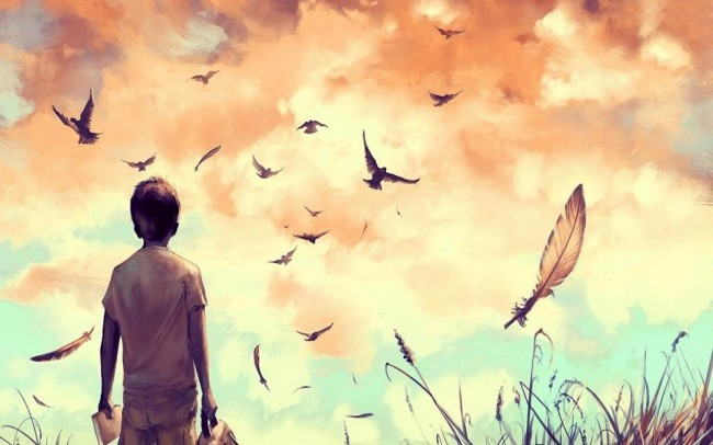 Alone-boy-and-birds-flying-painting