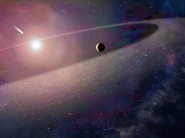 Белый карлик разорвал на части комету гигантских размеров