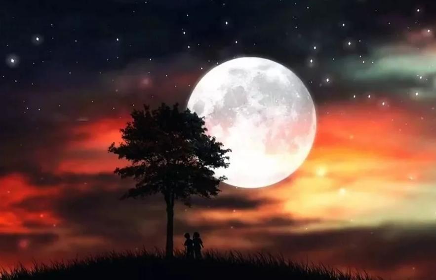 луна ночью