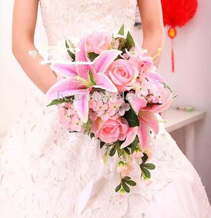 цветы на свадьбу лилии розовые с розами