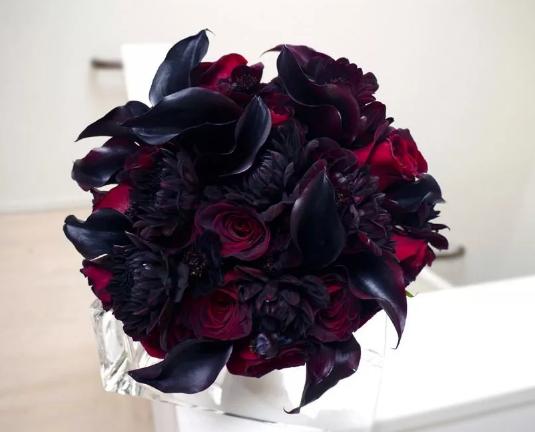 цветы на свадьбу в черных тонах
