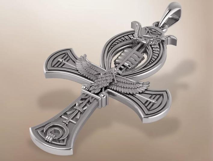 крест анкх кулон серебро