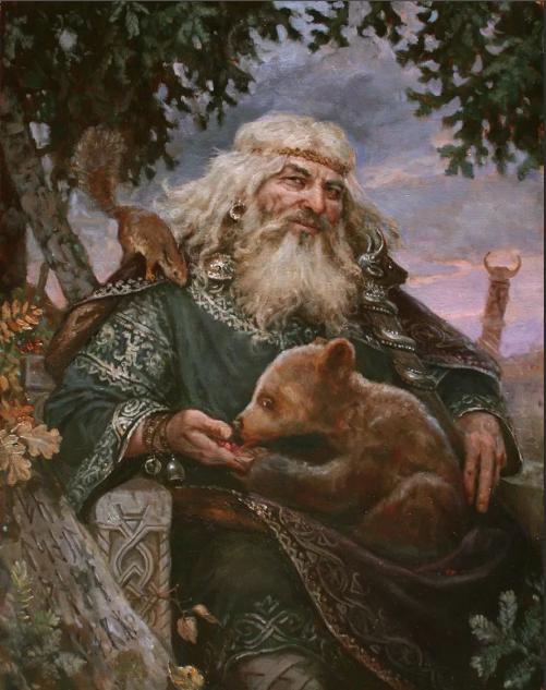 Бог Велес с животными