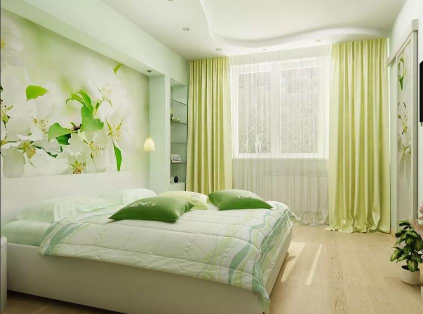 светло-зеленые шторы в спальне