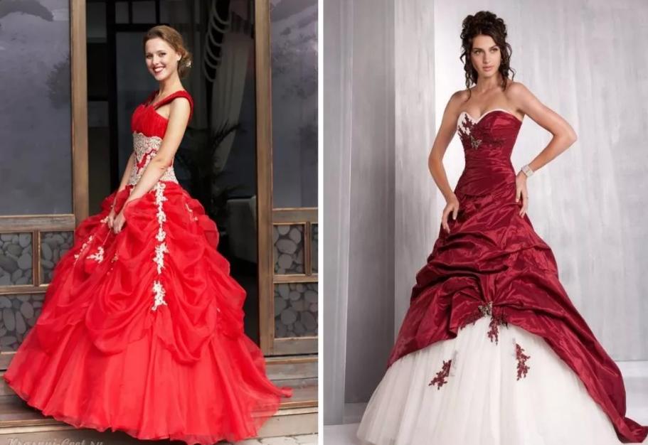 красное с белым свадебное платье