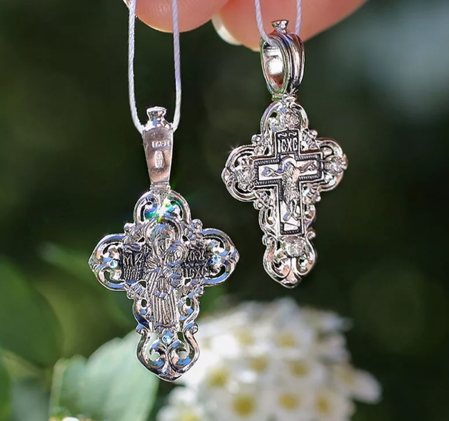 серебряный крестик для крещения ребенка