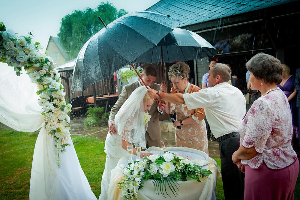 свадьба под ливнем