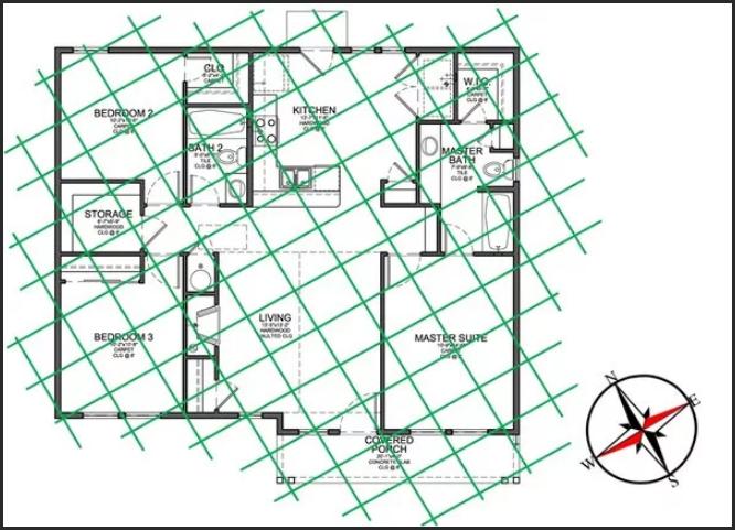 План квартиры с сеткой Хартмана