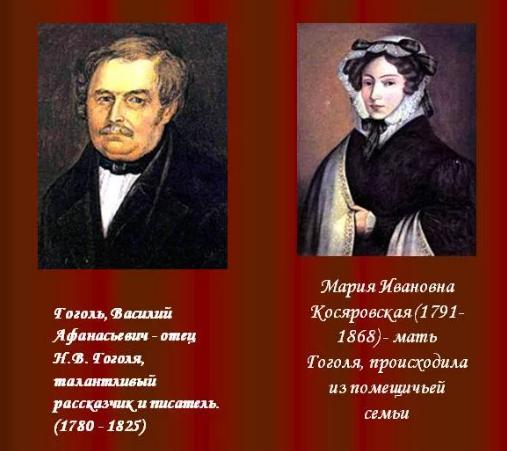 Родители Николая Гоголя