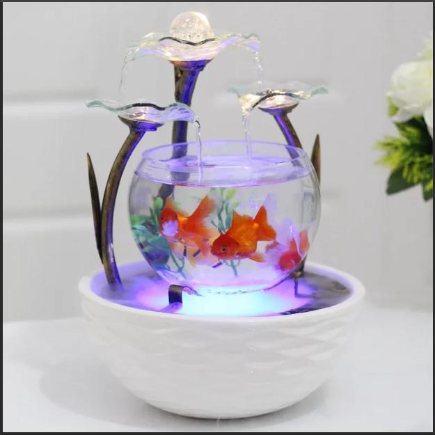 декоративный фонтанчик с аквариумом