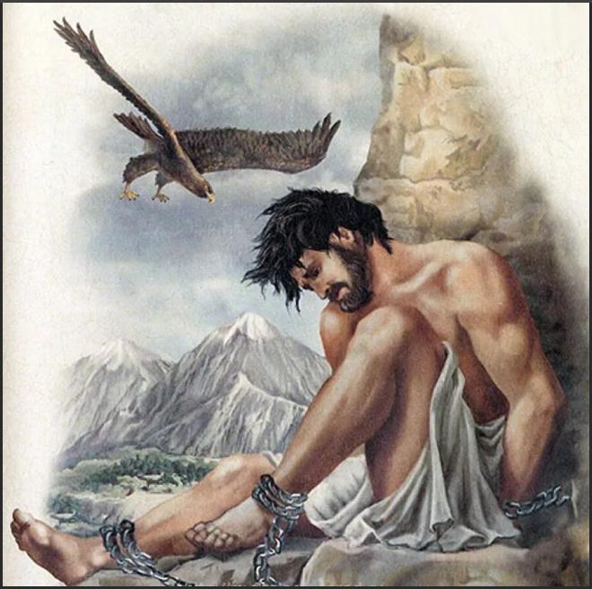 Прометей прикован к скале Эльбруса