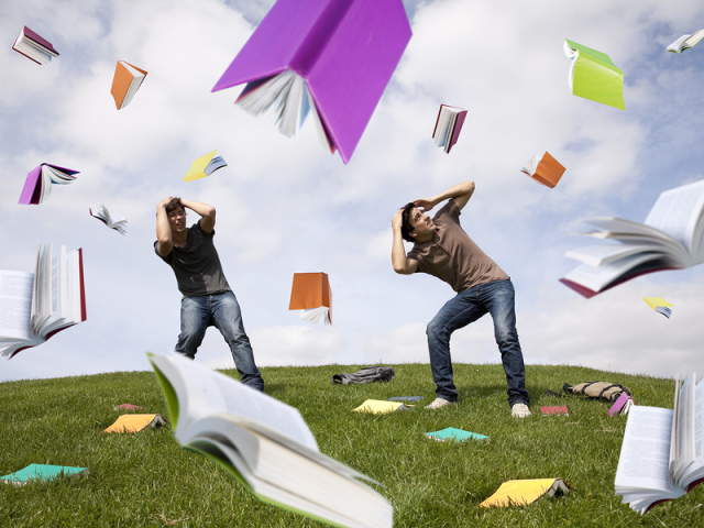 книжки сыпятся с неба