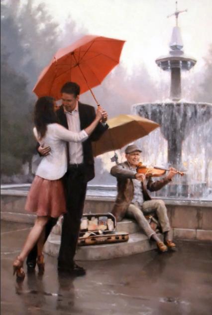 Дэниэл дел Орфано 1 пара с красным зонтом