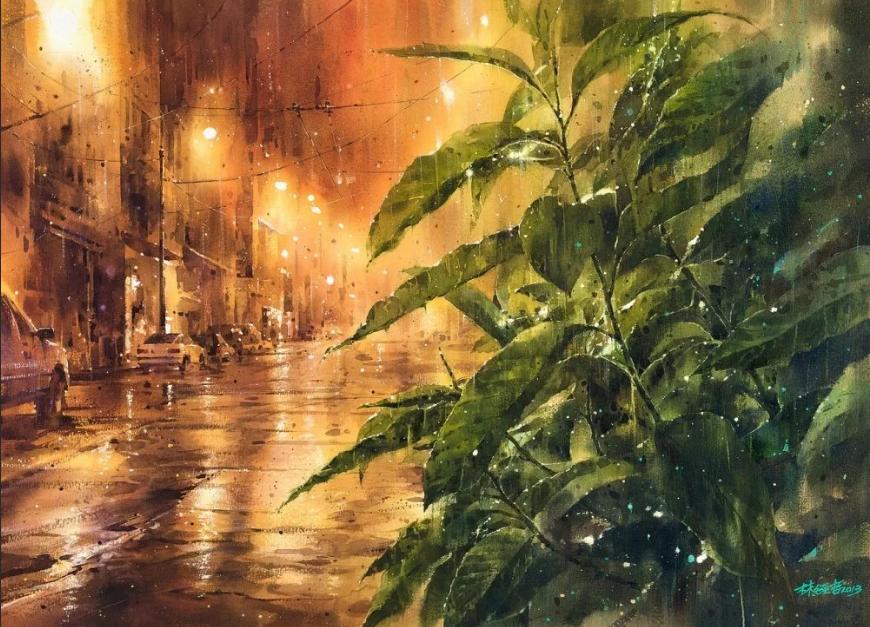 Лин Чинг Че акварель дождь вечером
