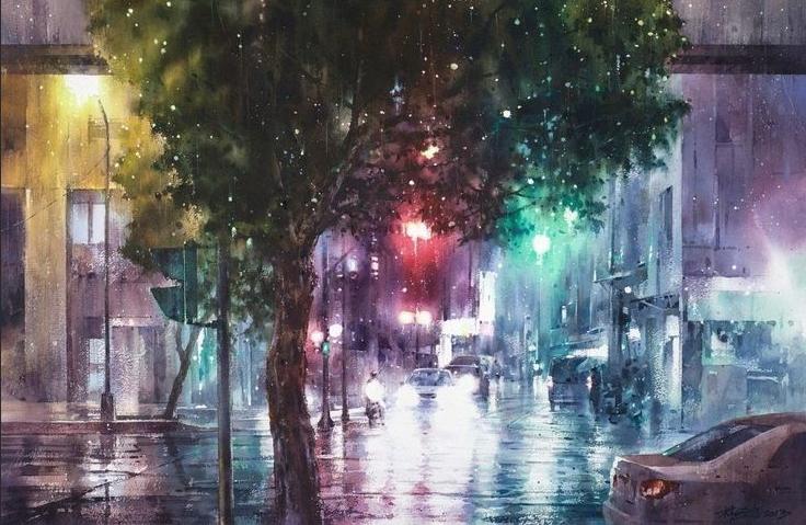 Лин Чинг Че картина акварель дождь